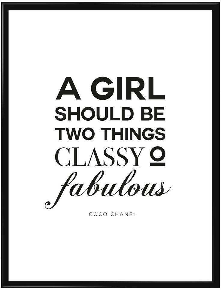 """Poster med citat från Coco Chanel """"A girl should be two things, classy and…"""