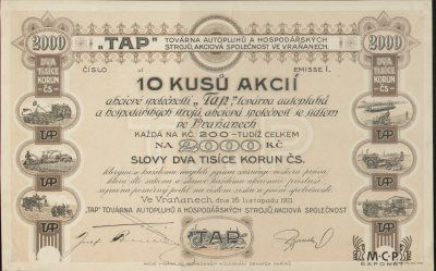 Muzeum cennych papiru A0434 TAP továrna autopluhů a hospodářských strojů, akciová společnost ve Vraňanech 1921