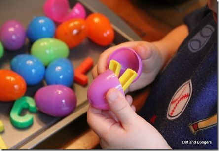ABC Games for Toddlers Hide the Letters in Eggs and then match to the mat