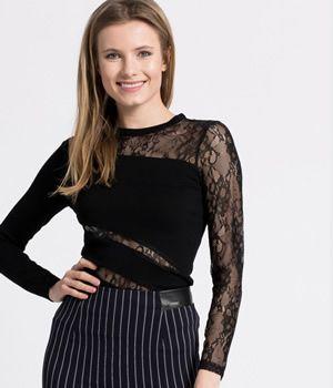Bluza eleganta de seara cu dantela Guess neagra