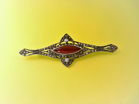 Edwardian style Carnelian and Marcasite designer 925 sterling