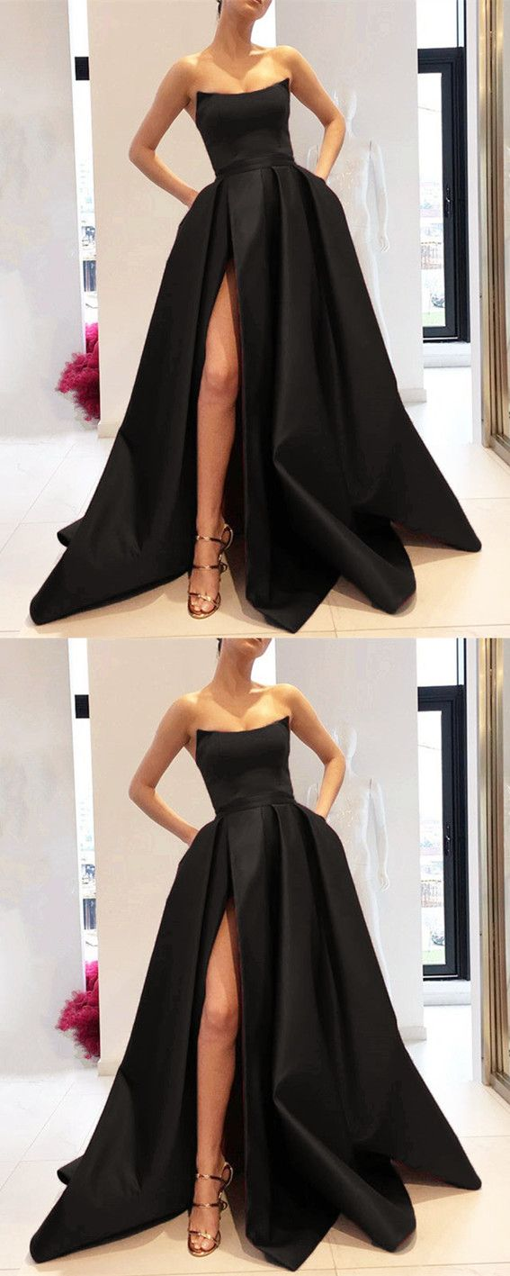 Strapless Bodice Corset Long Satin Leg Split Evening Dresses Strapless Prom Dresses Strapless Evening Gowns Prom Dresses Ball Gown [ 1417 x 567 Pixel ]