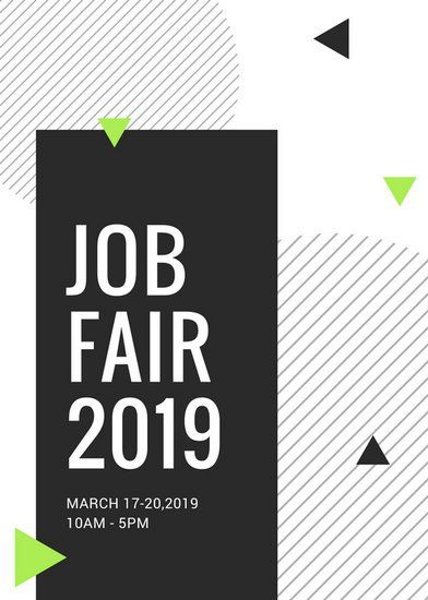 Black and White Shapes Job Fair Flyer