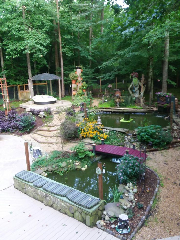 My DIY backyard complete with a sculpted tree ent, piano ...