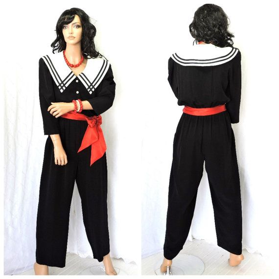 Nautical jumpsuit M 1980s sailor style wide by SunnyBohoVintage