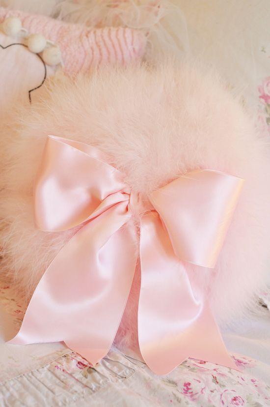 pink powder puff pillow