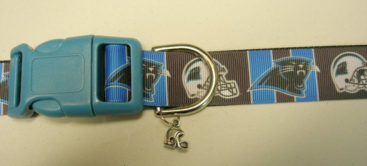 Carolina Panthers Football Team Adjustable dog collar with a Football helmet charm LEASHES available by Sewwho on Etsy