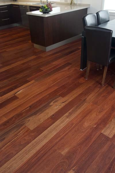 'Jarrah' Timber Flooring - A hard wearing and easy to clean floor covering.