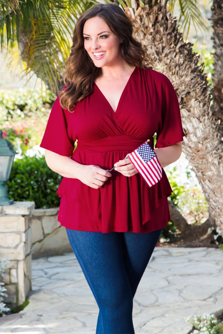 Look casual, feel HOT in our plus size Promenade Top in Ruby Rendezvous. Pair it with denim...shorts and sparkly sandals, jeans and heels, it's a go-to look with major style. Browse our entire collection of made in the USA styles at www.kiyonna.com. #kiyonnaplusyou