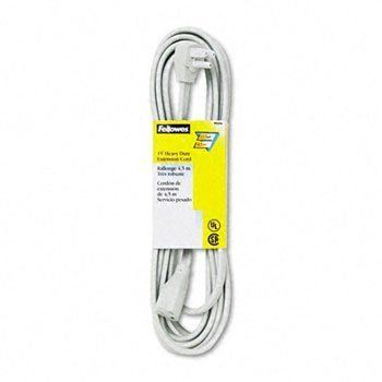Indoor Heavy-Duty Extension Cord, 3-Prong Plug, 1 Outlet, 15-ft. Length, Gray by Fellowes