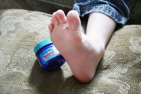 Vicks Vapo Rub on the souls of feet to stop a cough and make you sleep like a rock.THIS WORKS 100%!!!!! It works on adults as well.....better than NyQuil. My son's great Grandmother told me about this years ago. You must cover the feet with thick cotton socks after rubbing them down with a very generous coat of Vicks. Works like a detox.