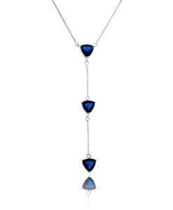 colar gravatinha prata com zirconias safira semi joias online