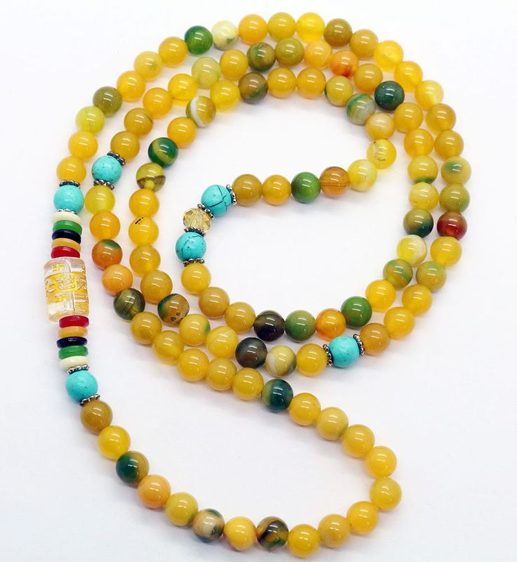 Tibet Buddhist 108 Yellow Aquatic Agate Turquoise Bless Prayer Beads Necklace