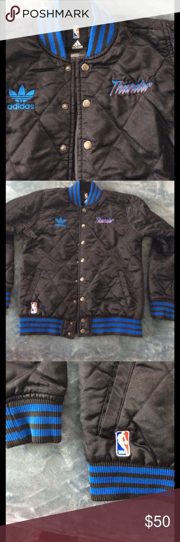 Adidas NBA OKC Thunder jacket in black and blue Adidas NBA OKC Thunder jacket some wear and tear as pictured and stringy, overall looks good blue strips on black Adidas Jackets & Coats Raincoats
