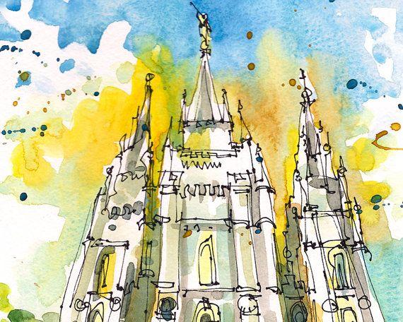Salt Lake City Salt Lake Temple LDS Temple Utah by SketchAway