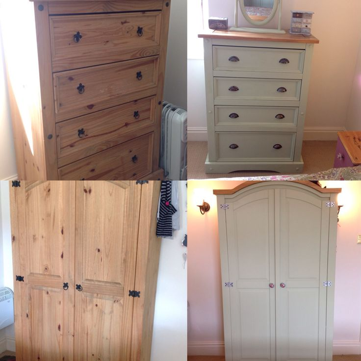 DIY projects; before and after painting up second hand bedroom furniture.  Dulux Crushed Aloe
