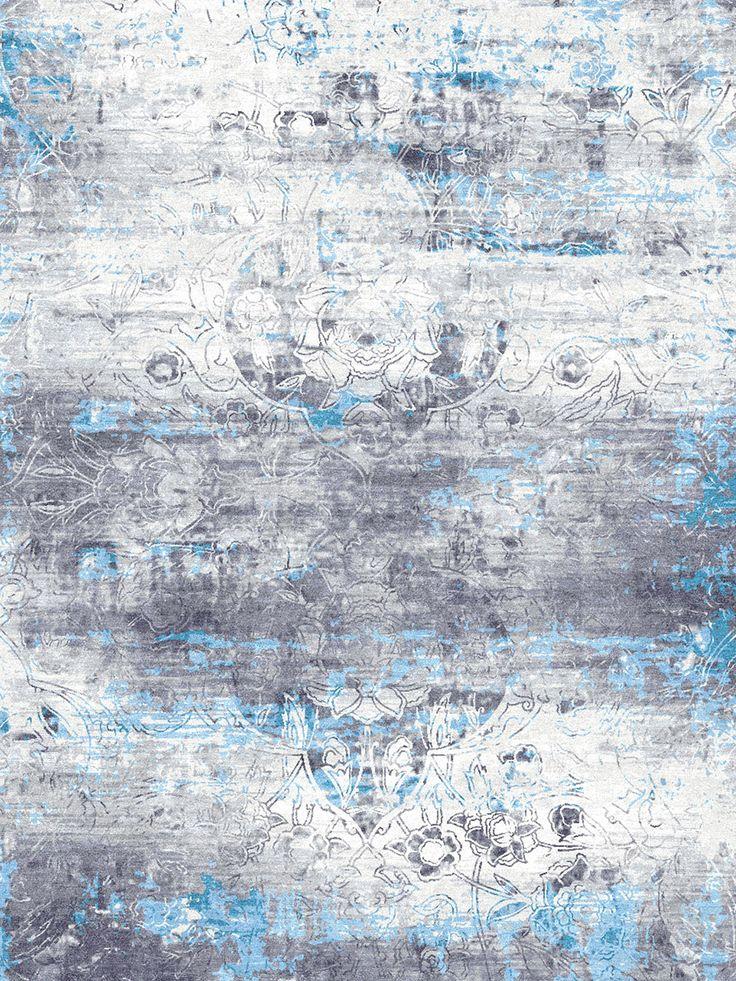 Ethos - Silver-Blue Rug | Bazaar Velvet | London Rug Shop