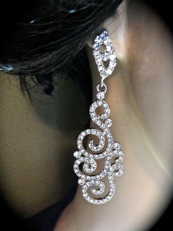 Rhinestone earrings  Long  Swirl  Exotic  by QueenMeJewelryLLC, $57.00
