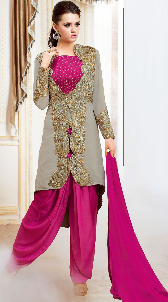 Stunning Dark Pink And Light Grey Satin Designer Salwar Kameez