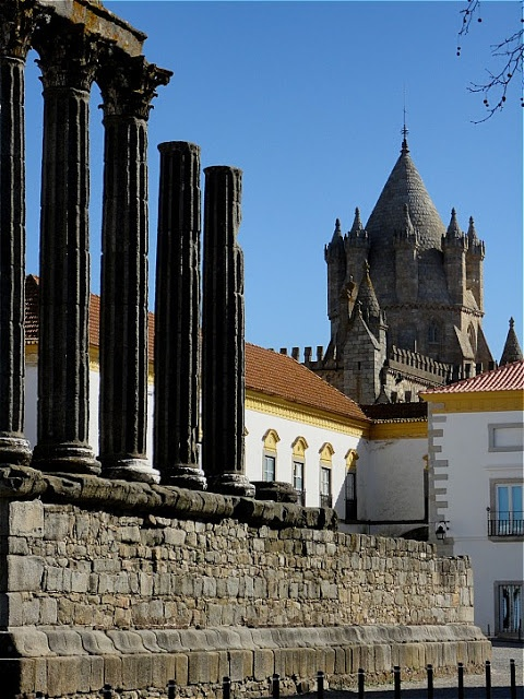 Evora Diana's Temple, the Cathedral and the typical architecture of Alentejo, Portugal