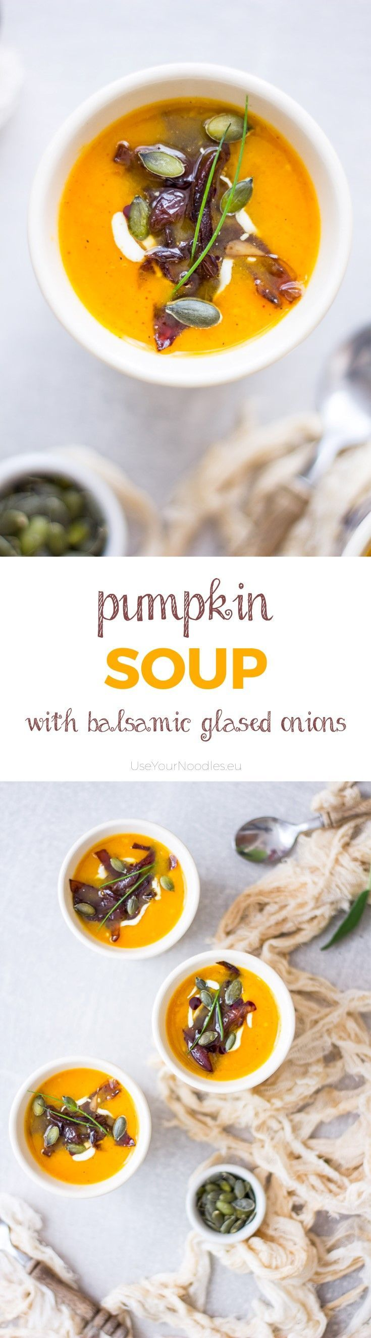Warm, sweet and spicy pumpkin soup with balsamic glased onions will be your new favorite autumn comfort food! Click to find the whole recipe or pin and save for later!