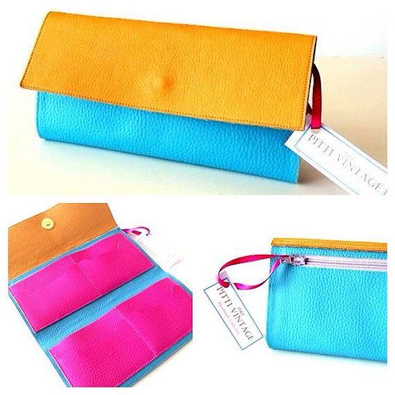 Turquoise Vegan Wallet Women Aqua womens clutch by PittiVintage