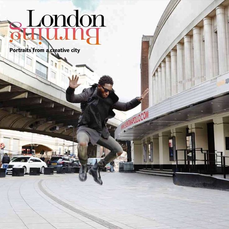 Tinie Tempah seen jumping with joy near the Hammersmith Apollo Theatre...#londonburningbook launch. Photo by Kate Martin