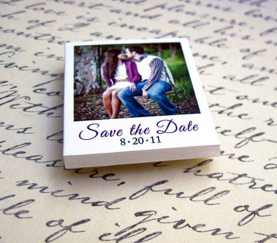 cute! mini polaroid save-the-date magnets