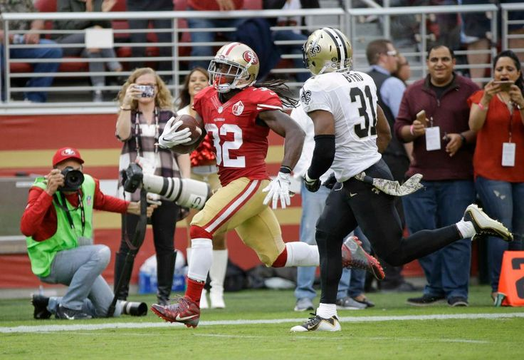 Saints vs. 49ers:  November 6, 2016  -  41-23, Saints  -     San Francisco 49ers running back DuJuan Harris runs with the ball for a 47-yard touchdown past New Orleans Saints free safety Jairus Byrd, right, during the first half of an NFL football game Sunday, Nov. 6, 2016, in Santa Clara, Calif.