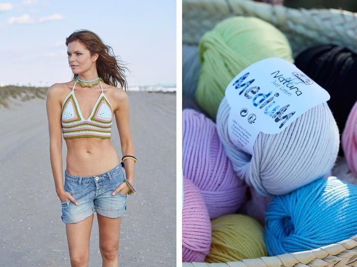 Aprende a tejer un top de crochet para la playa o el paseo marítimo. De estilo étnico, se teje facilísimo con hilo Natura Medium de DMC.