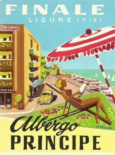HOTEL PRINCIPE luggage DECO label (FINALE LIGURE).  ebay