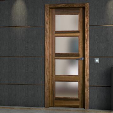 Bespoke wooden doors. The stunning consistent grain within the beautiful prefinished SanRafael Lisa L60VA4 Prefinished Balanced Band Walnut veneered glazed fire door. #firedoors
