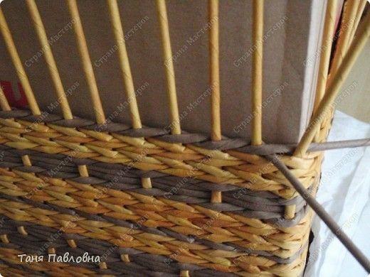 Мастер-класс Поделка изделие Плетение Короб для открытых полок и мааааленький МК Бумага газетная фото 12
