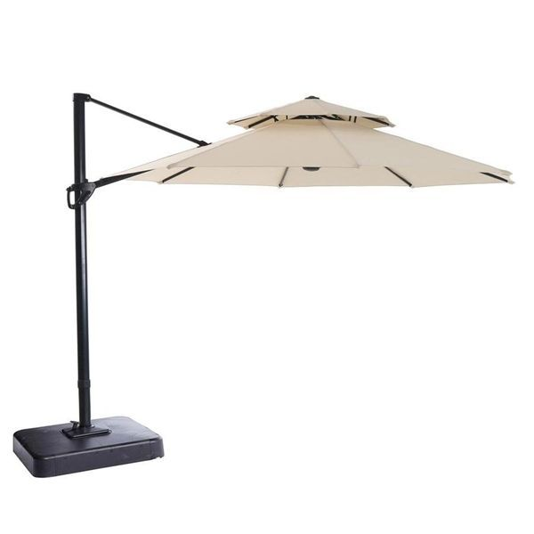 Garden Treasures 11 Ft Offset Tilt Umbrella Lowe S Canada Offset Umbrella Outdoor Garden Furniture Patio Umbrella