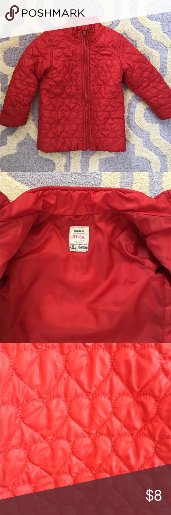 Girls Old Navy heart jacket Girls red Old Navy light weight puffy heart jacket. Some minor wear but in overall good condition. Has child's name written inside but no major flaws. Old Navy Jackets & Coats