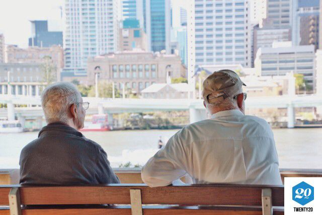 Check out my photo on @twenty20app. Two adult senior males sitting on a park bench by the river