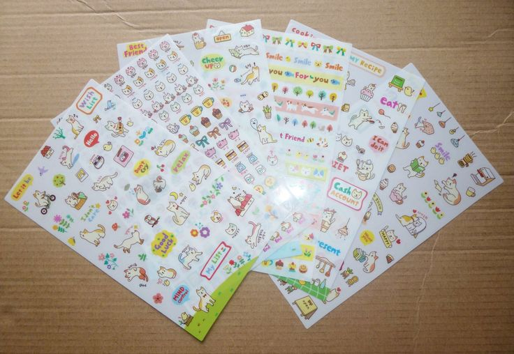 Cute Cat Diary Sticker Set - 6 Sheets by AzraelWest on Etsy