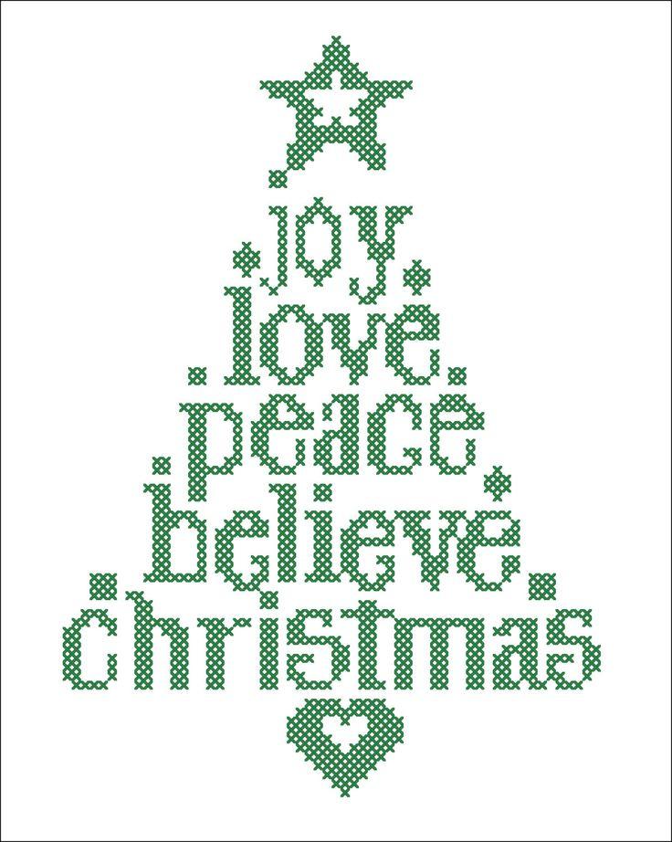 BOGO FREE! Merry Christmas - Christmas Tree Joy Love Believe Peace Cross Stitch Pattern - pdf pattern instant download #43 by Rainbowstitchcross on Etsy