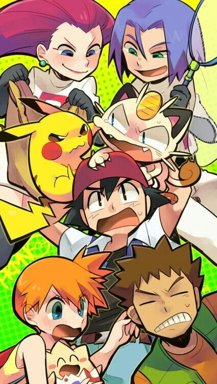 Ash, Misty, Brock, Pikachu, Togepi, Meowth, Jessie, James, Team Rocket, funny; Pokemon