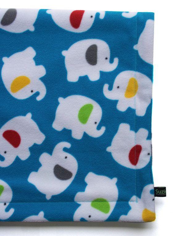 Blue Elephant Fleece Baby Blanket newborn gift by Suzieloutextiles