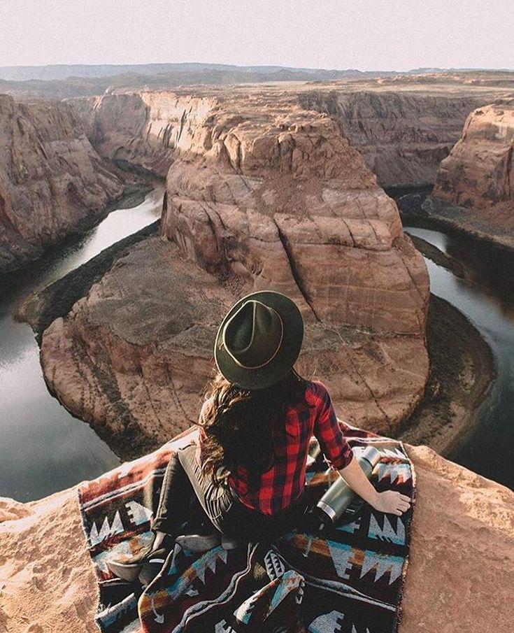 hike. buffalo check. hat. Aztec blanket. canyon