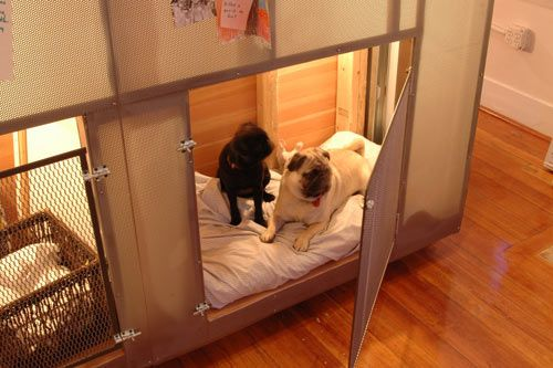 built-in dog kennel that's part of a free-standing room designed by Dan Hisel