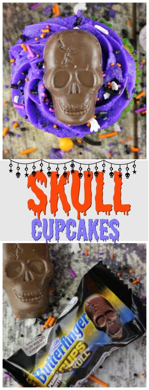 Halloween Skull Cupcakes - A yummy take on Halloween Skull Cupcakes rockin' it out with Nestlé's Butterfinger Peanut Butter Cup Skulls as the main decorative on your festive cupcakes for your Halloween Bash!  Throw on some sprinkles and Let's Rock!