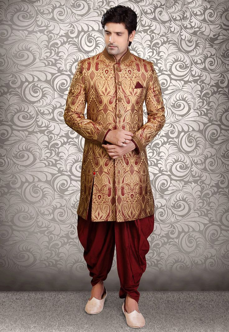 Buy Beige Art Silk Brocade Readymade Sherwani online, work: Embroidered, color: Beige, usage: Groom, category: Mens Wear, fabric: Art Silk, price: $394.60, item code: MHG264, gender: women, brand: Utsav