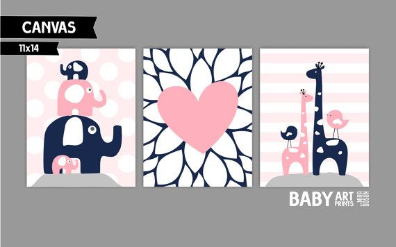 Nursery canvas art prints Blush Pink Navy Grey by babyartprints