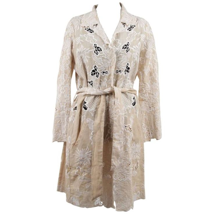 SCERVINO STREET Beige & White EMBROIDERIE Floral TRENCH COAT
