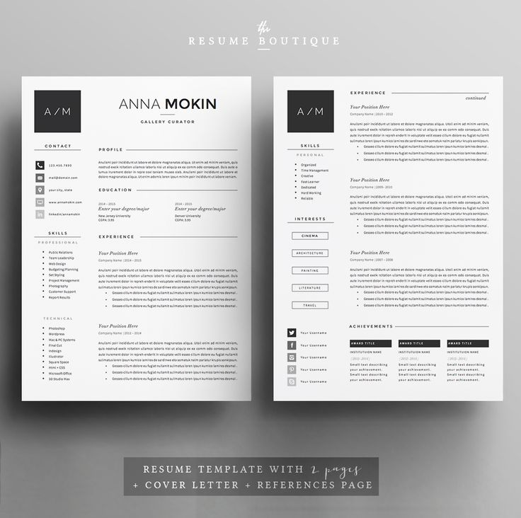 Resume Template 4page | Smoke by The.Resume.Boutique on @creativemarket