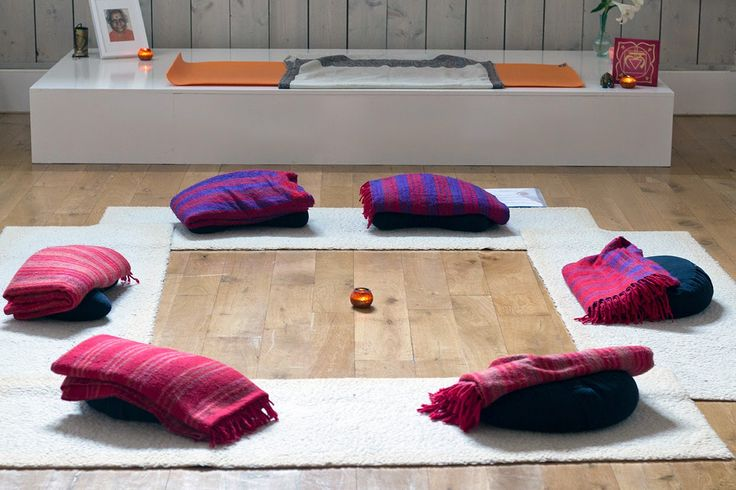 yoga mats, blankets and pillows