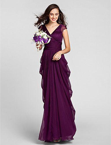 Vestido de Dama de Honor - Uva Corte Recto Escote en V - Hasta el Suelo Gasa Tallas grandes / Tallas pequeñas 2016 - $99.99