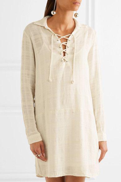 Splendid - Lace-up Knitted Mini Dress - Beige